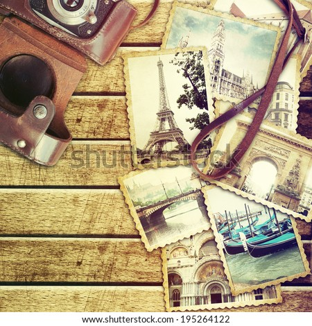 Vintage travel background with old photo. - stock photo