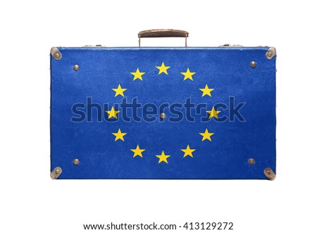Vintage travel bag with flag of European Union isolated on white background. - stock photo