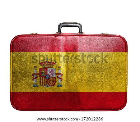 Vintage travel bag with flag of Spain - stock photo