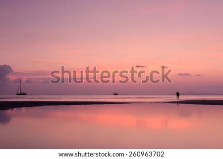 Vintage tropical beach and sky at dusk - stock photo