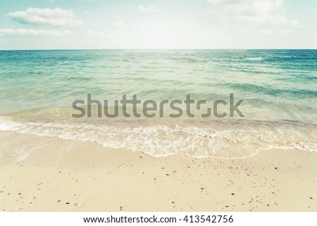 Vintage tropical beach in summer - nature background - stock photo
