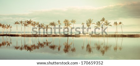 Vintage Tropical Hawaiian beach with coconut palm trees, morning blue sky and turquoise waters - panoramic view - stock photo