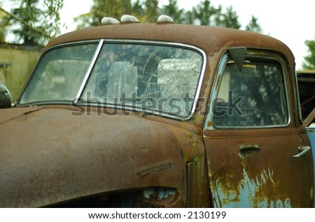Vintage truck w/ cracked windshield - stock photo
