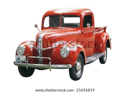 vintage truck with clipping path - stock photo