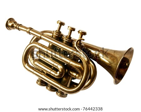Vintage trumpet BB over white background (front view) - stock photo