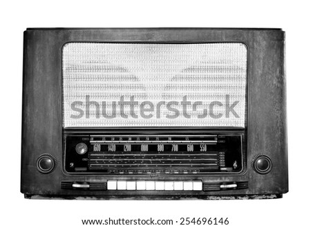 Vintage tube radio receiver - stock photo