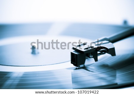 Vintage turn table extreme close-up - stock photo