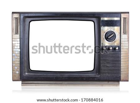 Vintage tv, isolate on white background - stock photo