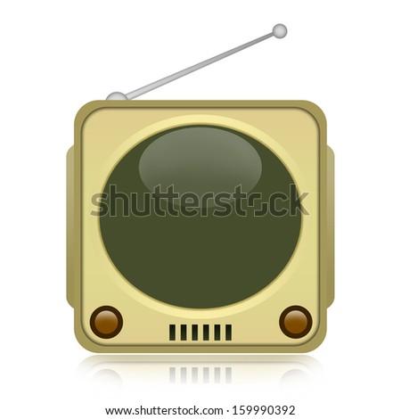 Vintage TV isolated on white background - stock photo