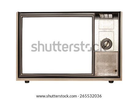 Vintage tv or television isolated on white background - stock photo