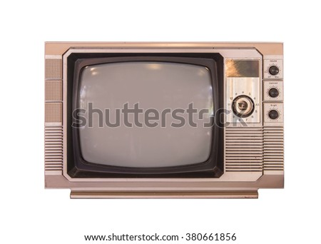 vintage tv or television isolated on white background. - stock photo