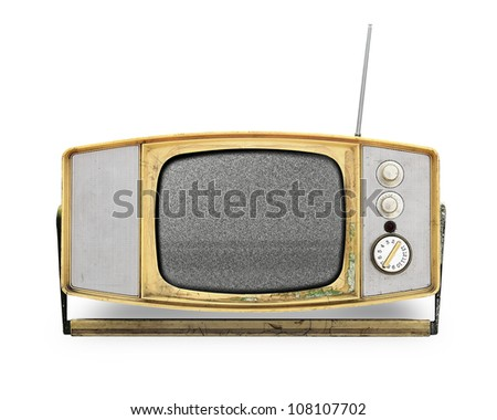 Vintage TV over a white background - stock photo
