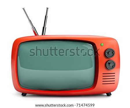 Vintage 16/9 TV set - stock photo