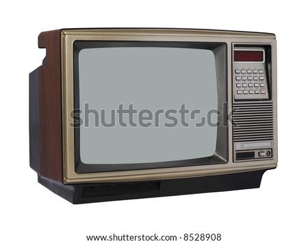 Vintage TV set - angle view - stock photo