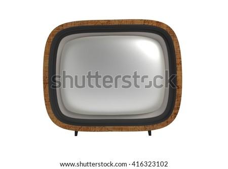 Vintage TV set isolated. 3d illustration - stock photo