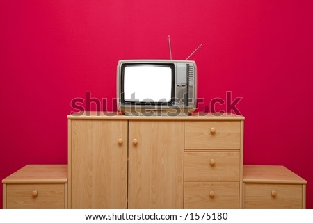 Vintage TV set with blank screen - stock photo
