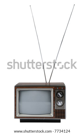 Vintage TV with antenna isolated over a white background. - stock photo