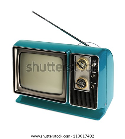 Vintage TV with antenna isolated over white background - With clipping path - stock photo