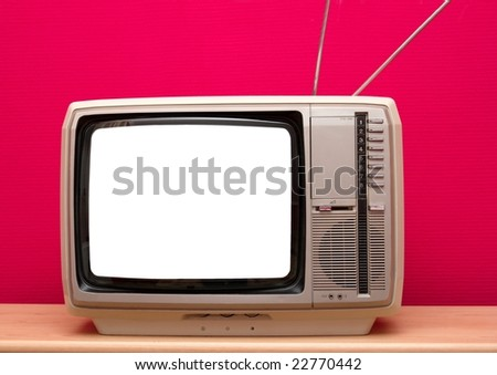 Vintage TV with blank white screen - stock photo