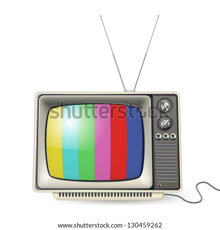 vintage tv with colors on the screen - stock photo