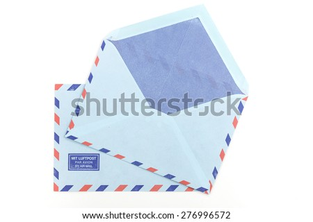 vintage two air mail envelopes over white background