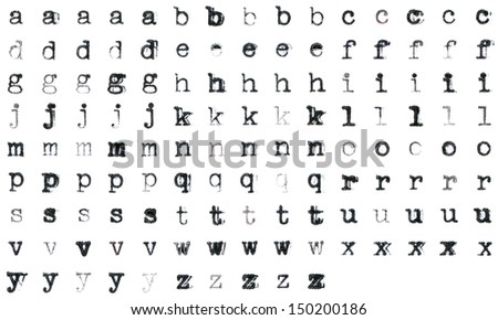 Vintage typed alphabet with 5 different variations of every letter - stock photo
