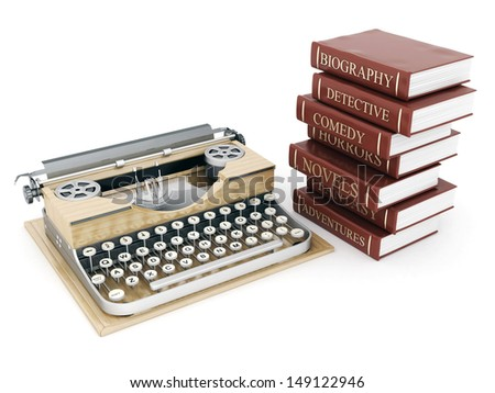 vintage typewriter and books on white background - stock photo
