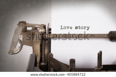 Vintage typewriter close-up - Love story, concept of love - stock photo