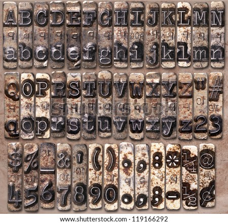 Vintage typewriter complete key face set