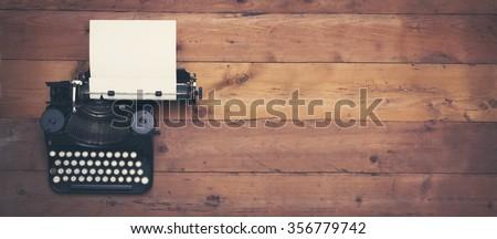Vintage typewriter hero header - stock photo