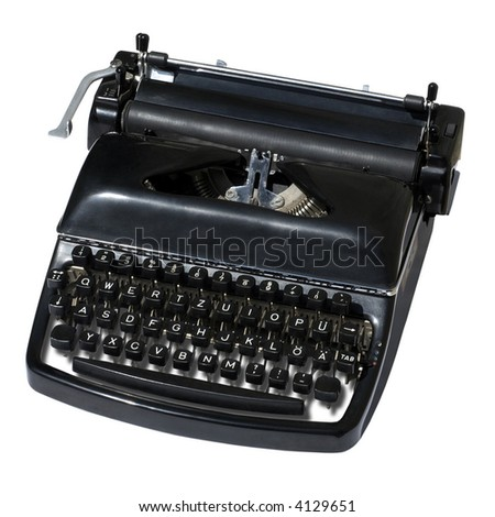 Vintage typewriter isolated on white.