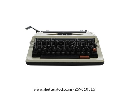 vintage typewriter isolated on white background. with clipping path