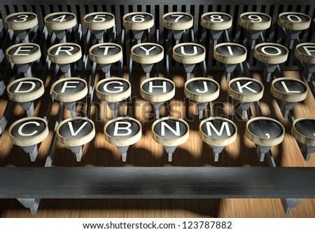 Vintage typewriter keys, close up - stock photo