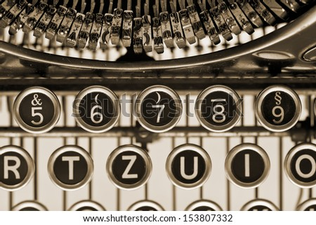 Vintage typewriter keys. Close up