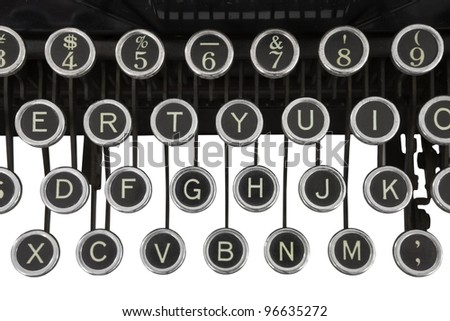 Vintage typewriter keys isolated on white. - stock photo