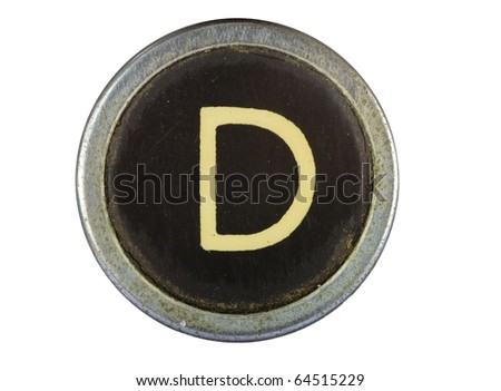Vintage typewriter letter D isolated on white - stock photo