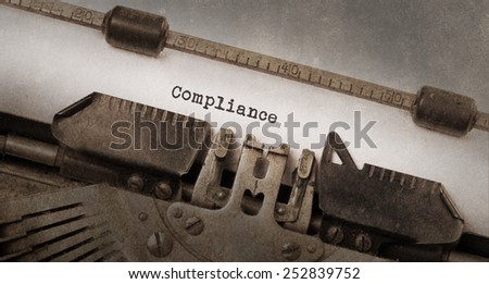 Vintage typewriter, old rusty and used, compliance - stock photo