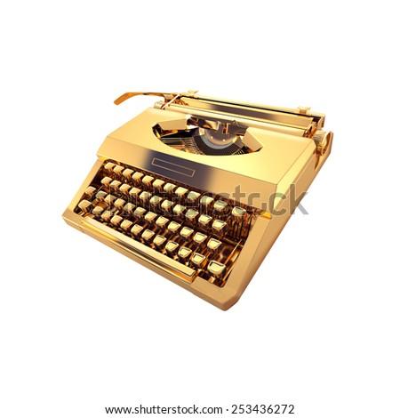 Vintage typewriter on white background - stock photo