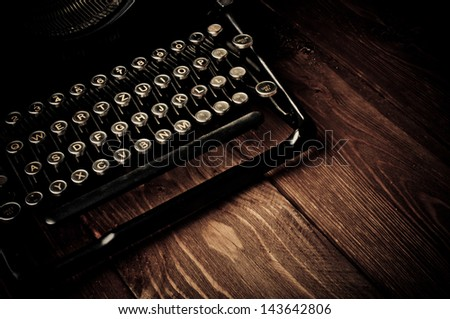 Vintage typewriter, touch-up in retro style - stock photo