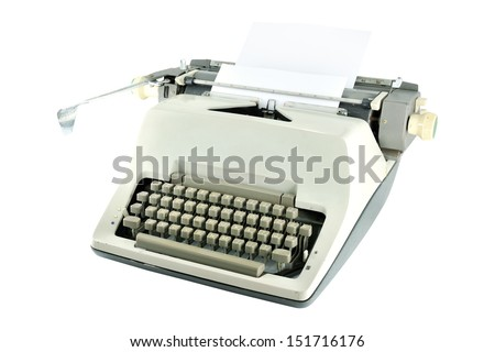 Vintage typewriter with a paper isolated on white