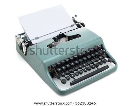 vintage typewriter with blank paper, isolated