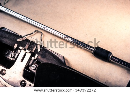 Vintage typewriter with shwwt of paper and printed 2016 digits. Closeup photography for blog and creative banners, or hero image. Symbol of blogging, writing, internet activity and creativity. - stock photo