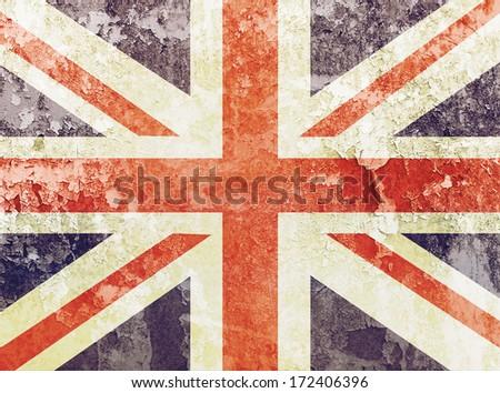Vintage Union Jack Flag grunge background  - stock photo