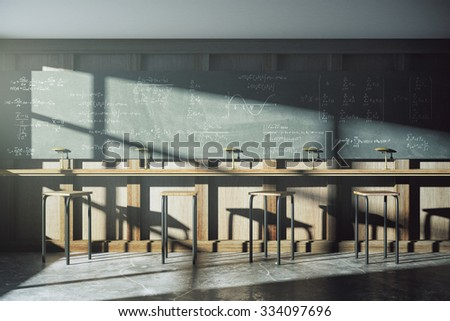Vintage university classroom with equation solution on blackboard 3D Render - stock photo