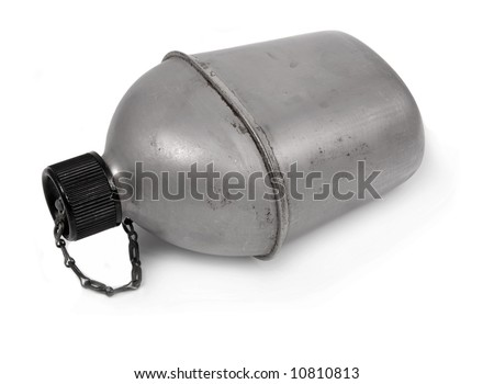 vintage us army canteen over white background