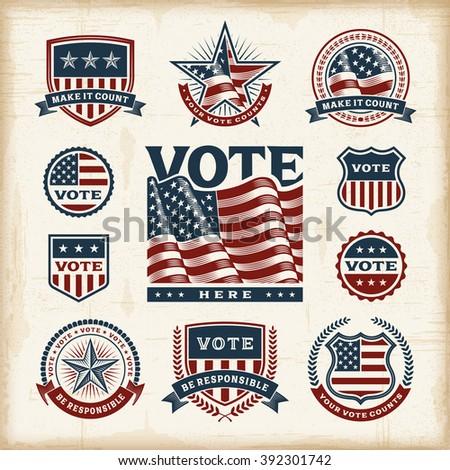 Vintage USA election labels and badges set - stock photo