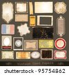Vintage used papers and labels - A collection of different distressed retr�² labels with several shapes and liquid drops on every surface. - stock photo