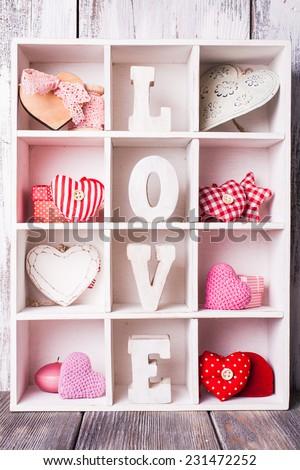 Vintage valentine set in white shabby chic cells - stock photo