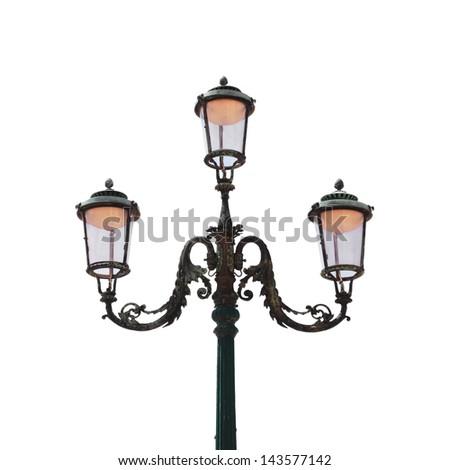 Vintage Venetian lantern isolated on white background - stock photo