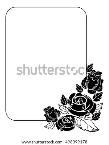 Vintage Vertical Floral Frame With Roses Silhouette Black And White Design Element For Advertisements